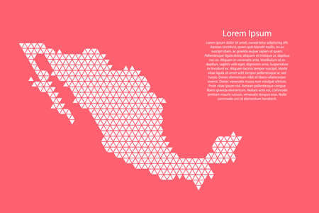 Mexico map abstract schematic from white  triangles repeating pattern geometric on pink coral color  background with nodes for banner, poster, greeting card. Vector illustration.