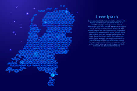 Netherlands map abstract schematic from blue triangles repeating pattern geometric background with nodes and space stars for banner, poster, greeting card. Vector illustration. 일러스트