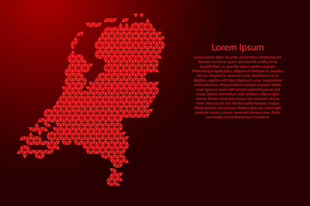 Netherlands map abstract schematic from red triangles repeating pattern geometric background with nodes for banner, poster, greeting card. Vector illustration. Иллюстрация