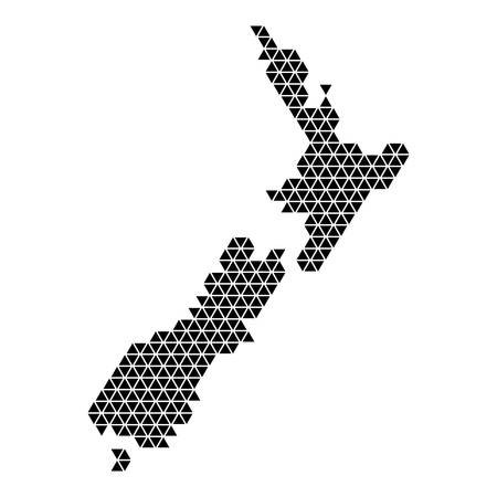 New Zealand map abstract schematic from black triangles repeating pattern geometric background with nodes. Vector illustration.