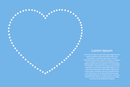 Heart love romantic symbol for Valentines day abstract schematic from the white dots along the perimeter on light-blue background for banner, poster, greeting card. Vector illustration.