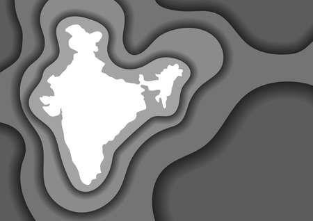 India map abstract schematic from grey monochrome layers paper cut 3D waves and shadows one over the other. Layout for banner, poster, greeting card. Vector illustration. Illustration