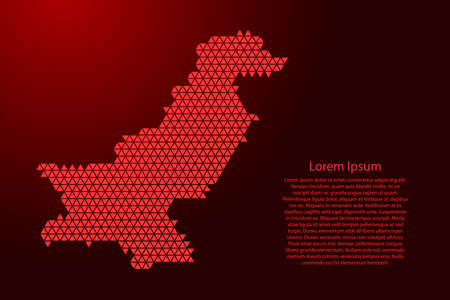 Pakistan map abstract schematic from red triangles repeating pattern geometric background with nodes for banner, poster, greeting card. Vector illustration.