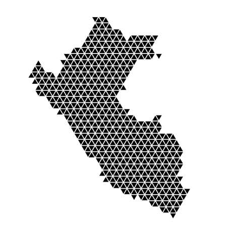 Peru map abstract schematic from black triangles repeating pattern geometric background with nodes. Vector illustration.