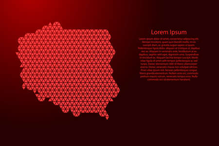 Poland map abstract schematic from red triangles repeating pattern geometric background with nodes for banner, poster, greeting card. Vector illustration. 일러스트