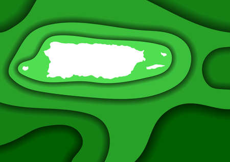 Puerto Rico map abstract schematic from green layers paper cut 3D waves and shadows one over the other. Layout for banner, poster, greeting card. Vector illustration. 일러스트