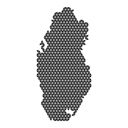 Qatar map abstract schematic from black triangles repeating pattern geometric background with nodes. Vector illustration. 일러스트