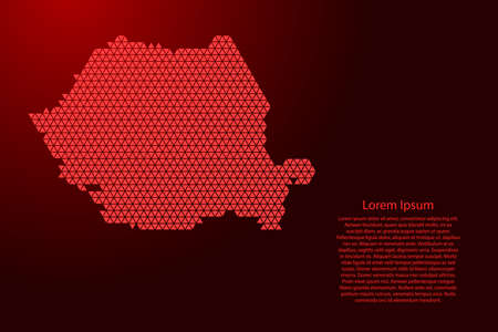 Romania map abstract schematic from red triangles repeating pattern geometric background with nodes for banner, poster, greeting card. Vector illustration.