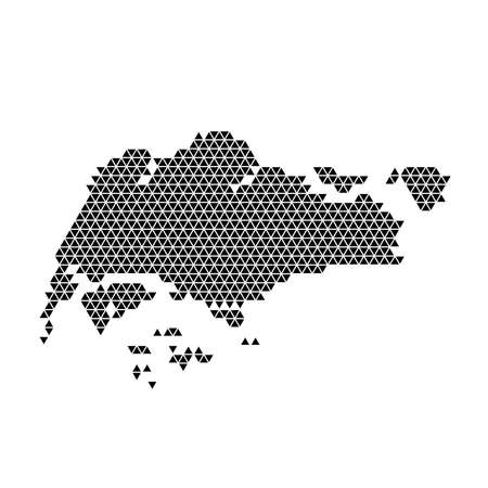Singapore map abstract schematic from black triangles repeating pattern geometric background with nodes. Vector illustration.