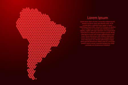 Schéma abstrait de la carte de l'Amérique du Sud à partir de triangles rouges répétant l'arrière-plan géométrique du motif avec des nœuds pour la bannière, l'affiche, la carte de voeux. Illustration vectorielle.