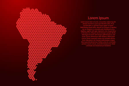 South Ameica map abstract schematic from red triangles repeating pattern geometric background with nodes for banner, poster, greeting card. Vector illustration.