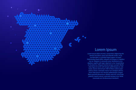 Spain map abstract schematic from blue triangles repeating pattern geometric background with nodes and space stars for banner, poster, greeting card. Vector illustration. 일러스트