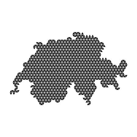 Switzerland map abstract schematic from black triangles repeating pattern geometric background with nodes. Vector illustration. 일러스트