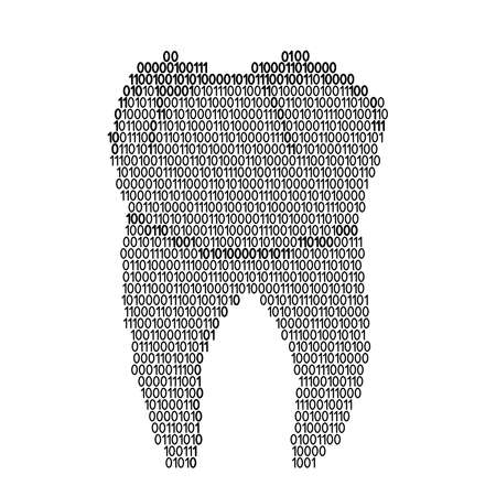 Tooth human root single abstract schematic from black ones and zeros binary digital code. Vector illustration. 일러스트
