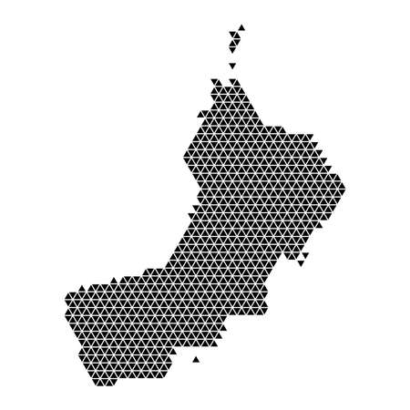 Oman map abstract schematic from black triangles repeating pattern geometric background with nodes. Vector illustration. 일러스트