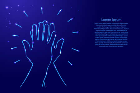 Informal greeting, two hands giving a high five, team result, friendly partners from the contour classic blue color brush lines different thickness and glowing stars on dark background. Vector illustration.