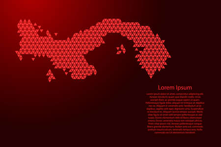 Panama map abstract schematic from red triangles repeating pattern geometric background with nodes for banner, poster, greeting card. Vector illustration.