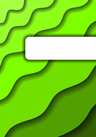 Paper cut background vertical from green layers for business presentations, flyers, posters, banner, greeting card. Vector illustration. Banco de Imagens - 138520531