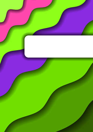Paper cut background vertical from green layers and one pink and violet bands for business presentations, flyers, posters, banner, greeting card. Vector illustration. Banco de Imagens - 138520734