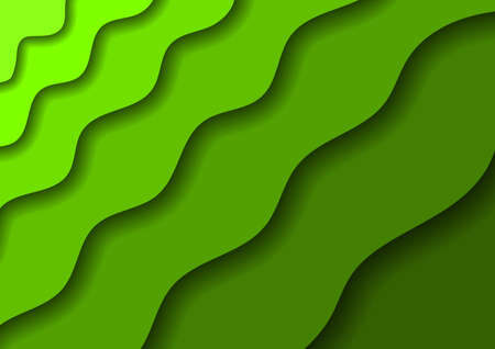 Paper cut banners with 3D abstract background with green waves and shadows. Layout for banner, poster, greeting card. Vector illustration. Banco de Imagens - 138520744