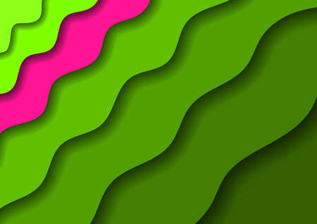 Paper cut banners with 3D abstract background with green waves and shadows and one pink band. Layout for banner, poster, greeting card. Vector illustration.