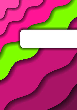 Paper cut background vertical from pink monochrome layers and one green band for business presentations, flyers, posters, banner, greeting card. Vector illustration.