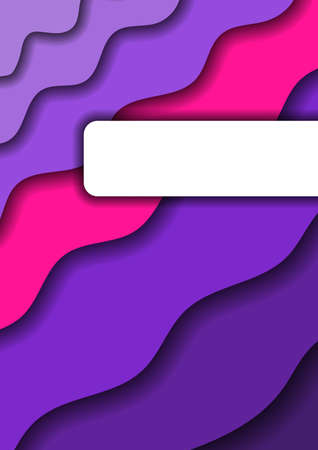 Paper cut background vertical from violet monochrome layers and one pink band for business presentations, flyers, posters, banner, greeting card. Vector illustration.