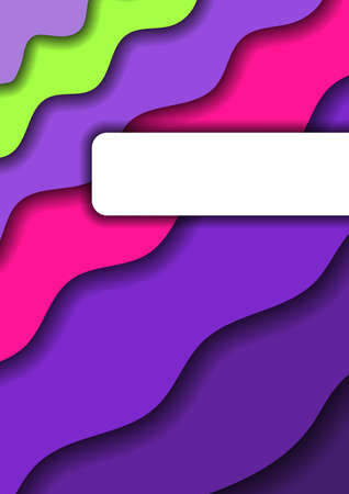 Paper cut background vertical from violet monochrome layers and one pink and green band for business presentations, flyers, posters, banner, greeting card. Vector illustration.