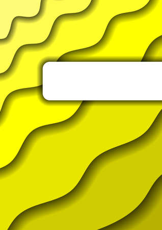 Paper cut background vertical cover A4 from yellow layers for business presentations, flyers, posters, banner, greeting card. Vector illustration. Ilustração