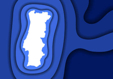 Portugal map abstract schematic from blue layers paper cut 3D waves and shadows one over the other. Layout for banner, poster, greeting card. Vector illustration.