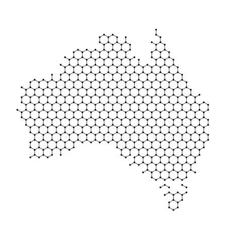 Australia map from abstract futuristic hexagonal shapes, lines, points black, in the form of honeycomb or molecular structure. Vector illustration.