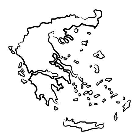 Greece map from the contour black brush lines different thickness on white background. Vector illustration. Vettoriali