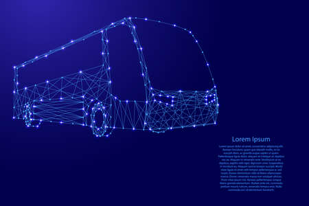 Bus from futuristic polygonal blue lines and glowing stars for banner, poster, greeting card. Vector illustration.