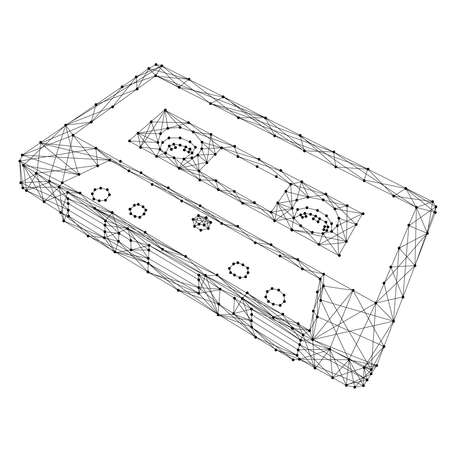 Cassette audio tape with magnetic film from abstract futuristic polygonal black lines and dots. Vector illustration.