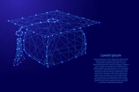 Graduation cap from futuristic polygonal blue lines and glowing stars for banner, poster, greeting card. Vector illustration. Vecteurs