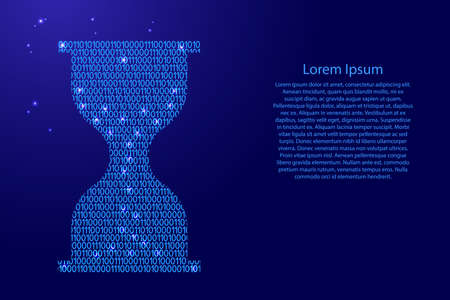 Hourglass icon abstract schematic from blue ones and zeros binary digital code with space stars for banner, poster, greeting card. Vector illustration.