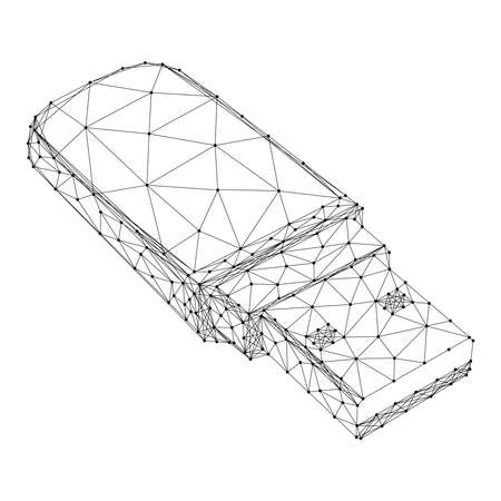 USB flash drive from abstract futuristic polygonal black lines and dots. Vector illustration.