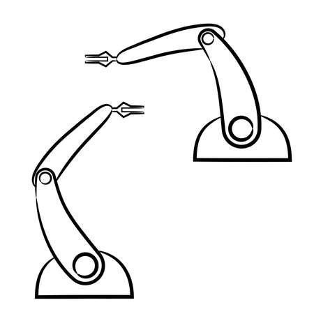 The hands of manipulators of the robot from the contour black brush lines different thickness on white background. Vector illustration. Ilustração