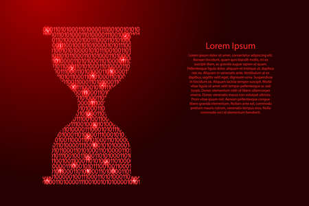 Hourglass icon abstract schematic from red ones and zeros binary digital code for banner, poster, greeting card. Vector illustration. Stock Illustratie