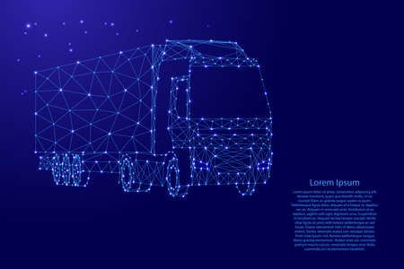 Cargo truck with semi-trailer from futuristic polygonal blue lines and glowing stars for banner, poster, greeting card. Vector illustration.