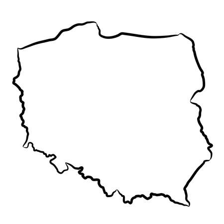 Poland map from the contour black brush lines different thickness on white background. Vector illustration.
