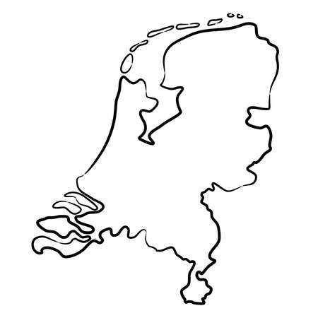 Netherlands map from the contour black brush lines on white background. Vector illustration.