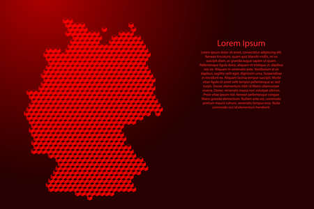 Germany map from 3D red cubes isometric abstract concept, square pattern, angular geometric shape, for banner, poster. Vector illustration. Stock Illustratie