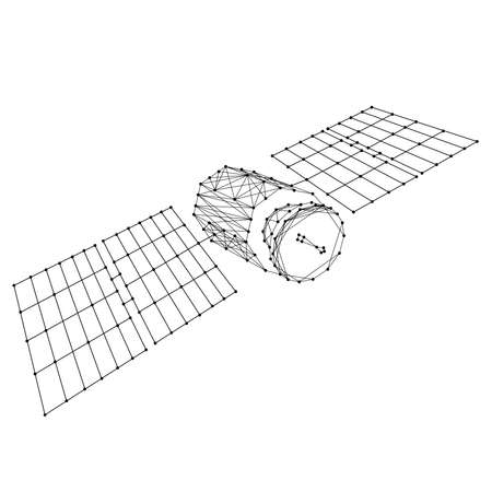 Earth artificial satellite orbital with solar panels from abstract futuristic polygonal black lines and dots. Vector illustration.