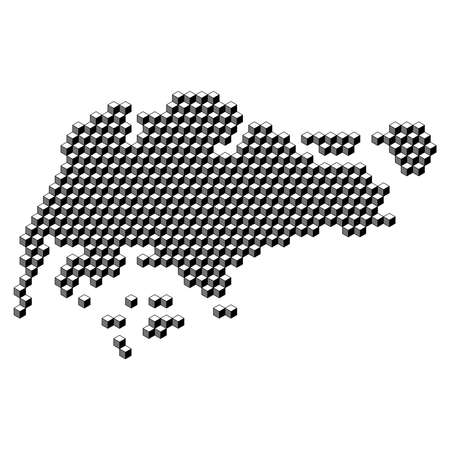 Singapore map from 3D black cubes isometric abstract concept, square pattern, angular geometric shape. Vector illustration.