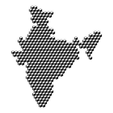 India map from 3D black cubes isometric abstract concept, square pattern, angular geometric shape. Vector illustration.