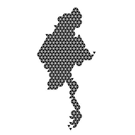 Myanmar map abstract schematic from black triangles repeating pattern geometric background with nodes. Vector illustration. Stock Illustratie