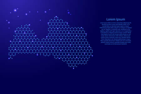 Latvia map from futuristic hexagonal shapes, lines, points  blue and glowing stars in nodes, form of honeycomb or molecular structure for banner, poster, greeting card. Vector illustration.