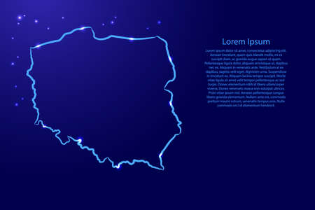 Poland map from the contour blue brush lines different thickness and glowing stars on dark background. Vector illustration.