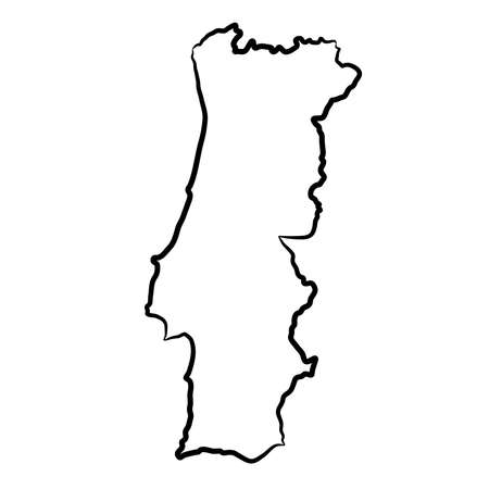 Portugal map from the contour black brush lines different thickness on white background. Vector illustration.